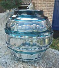Vase art deco cristal taillé doublé couleur bleu petrole Val St Lambert DN1590