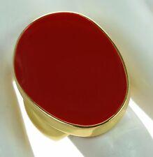 Kenneth J Lane KJL Polished Gold Red Enamel Cocktail Ring Sz.- 8