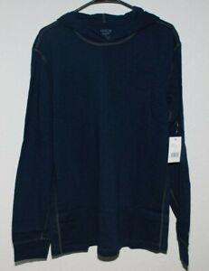 VINCE Mens Lightweight Long Sleeve Hoodie Henley in Union Blue sz XL $135