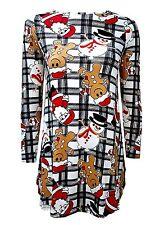 Women Ladies Christmas Minecraft Reindeer Santa XMAS Long Sleeve Swing Dress Top