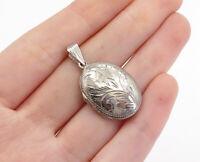 925 Sterling Silver - Vintage Floral Vine Etched Locket Pendant (OPENS) - P12499