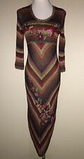 NEW Sue Wong  Crocheted Floral Embroidered V~Hem Striped  Dress SIZE SMALL