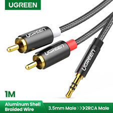 UGREEN Cinch auf Klinke Kabel Aux 3.5mm Adapter 2RCA Audio Klinkenkabel HiFi 1m