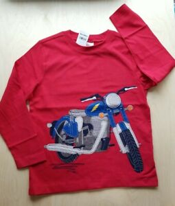 NWT HANNA ANDERSSON APPLIQUE APPY RED LONG SLEEVE MOTORCYCLE TEE SHIRT 120 6/7