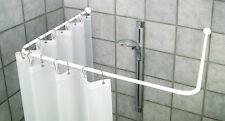 Set 4-tlg. Duschvorhang 180 cm + Winkel-Stange weiss+ Deckenhalterung + 12 Ringe