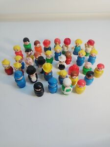 Vintage Fisher Price Little People - Lot of 33 Figures Wood Wooden dome plastic