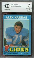 1971 topps #41 ALEX KARRAS detroit lions BGS BCCG 7