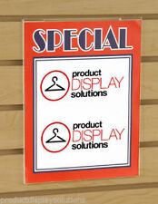 """11""""H X 7""""W Slatwall Acrylic Clear Plastic Sign Card Holder 