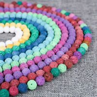 Wholesale Natural Stone Volcano Lava Round Loose Beads For DIY Jewelry Making so