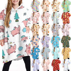 Kids Girls Print Fleece Hooded Blanket Wearable Novelty Hoodie Loose Sweatshirts