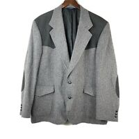 Pendleton Mens Gray Black Western Wool Leather Patch Tweed Blazer Sport Coat 48