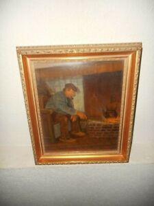Old oil painting,{ Man smoking his pipe, signed John Paymans, nice frame}.