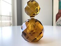 Vintage Faceted Amber Crystal Glass Perfume Bottle 5 Inch w Stopper