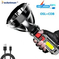 USB Rechargeable COB+ LED Flashlight Powerful 4Modes Torch Worklight Searchlight