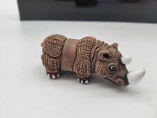 Cute Leps Carved Wood Rhino Figure Rhinoceros Collector Gift