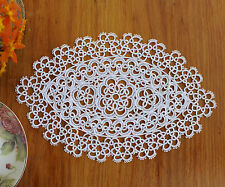Exquisite Fine Yarn Hand Tatting Lace Cotton Doily Placemat Oval 18x28CM White
