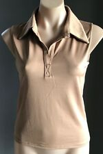 Pre-owned Gold Colour SINEQUANONE Sleeveless Stretch Polo Top Size T2 (AU12)