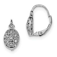 925 Sterling Silver Rhodium-plated Polished CZ Leverback Earrings