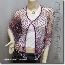 Exotic Crochet Net Triangular Shawl Wrap Shawl Scarf w Beads Purple Silvery OS