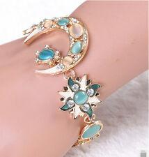 Shiny Full Opal Alloy Bracelet Bangle Hollow Floral Moon Sun Star Space Style