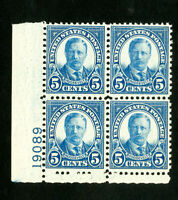 US Stamps # 637 XF PB of 4 OG NH