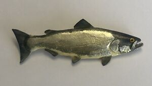 Vintage Artisan Signed David Bellinger 89 Salmon Brooch Folk Art Fish Pin