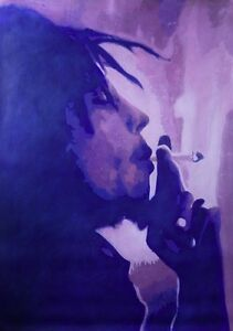 Bob Marley oil painting NOT a print poster.Hand painted art framing avail Reggae