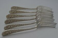 Stieff Rose Pattern Sterling Silver Dinner Forks Set of Six 1904 7""