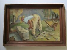 MARION EWALD ANTIQUE AMERICAN REGIONALISM WPA ERA  CONSTRUCTION WORKERS 1930'S