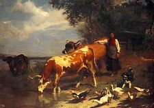 Wholesale lots oil painting Getting a Drink Oxherd with cows cattles ducks river