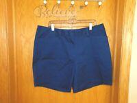 "Lands End Navy Blue Mid Rise Bermuda Chino Walking 7"" Shorts 14 Large Womens"