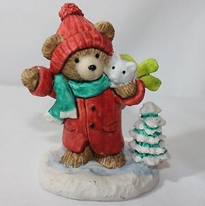 Enesco Teddy Bear with Mouse Scarf Winter Tree Resin