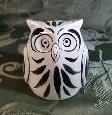 Vintage Owl Hand Painted figurine shelf sitter bird Black & Gray decor ceramic