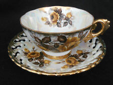 ROYAL SEALY TEA CUP & SAUCER GOLDEN BROWN ROSE JAPAN LUSTER PEARL WHITE