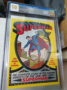 CGC 10 - DC Comics SUPERMAN #1 GEM MINT Silver Foil 1939