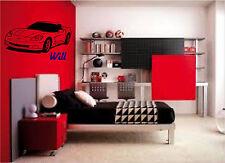 4 Feet Sports Car Corvette & Personalized Name Wall Stickers Wall Art Decor
