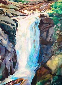 Maine Watercolor Landscape, Moxie Falls, Plein Air landscape in Kennebec Valley