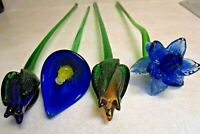 """(4) Vintage Hand Blown Murano Style Heavy Art Glass Flowers 18 1/2"""" to 20 1/2"""""""