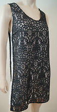 ROBERT RODRIGUEZ Black & White Lace Sleeveless Evening Party Shift Dress 6 UK10