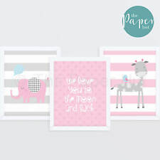 "Girl's Nursery Art Print Pink & Grey 8""x10"" Three Pack | Jungle Safari"