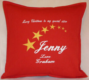 Merry Christmas Personalised Stars Xmas gift Sofa Bed Car Home Decor red cushion