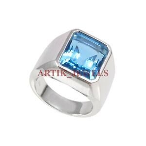 Natural Blue Topaz Gemstone with 925 Sterling Silver Ring for Men's #2794