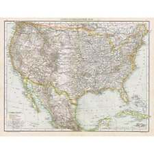 UNITED STATES OF AMERICA Antique Map 1893 by Cassell