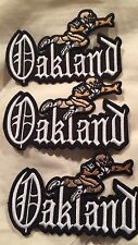 "(3) VINTAGE IRON ON EMBROIDED PATCH OAKLAND RAIDERS 4""x 2""1/2"" (Lot Of 3). Nice!"