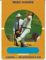 "Cricket Legend - Merv Hughes - Stimorol Gum Trading Card ""Nice Condition"""