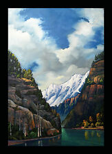 Wm Hawkins Signed Art Painting Impressionism Western Mountains Green Blue Clouds