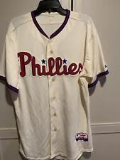 Authentic Majestic Philadelphia Phillies Ivory Alternate Cool Base Jersey Sz 44