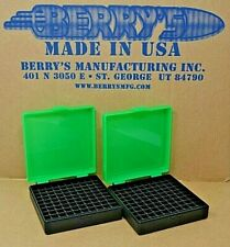(2) 9 Mm / 380 Ammo Boxes / Storage (Zombie Green / Black Color) Berry Mfg