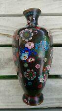 More details for antique meiji floral hexagonal black cloisonne enamel small vase