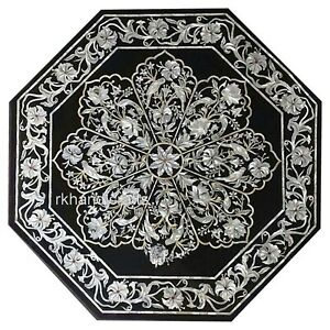 MOP Royal Art Inlaid Kitchen Table Top Black Marble Coffee Table Size 30 Inches